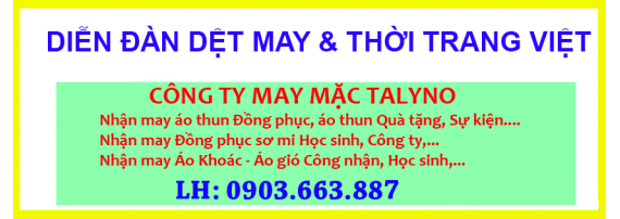Banner xưởng may mặc talyno